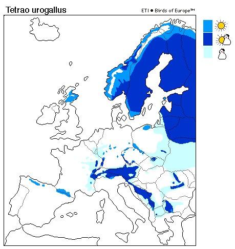 Capercaillie distribution range map