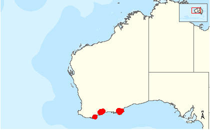 Western Ground Parrot distribution range map